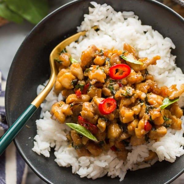 Pad Krapow Gai (Thai Basil Chicken) in a bowl with rice