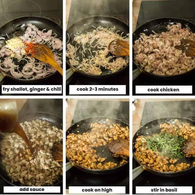 collage showing how to make Thai Basil Chicken (Pad Krapow Gai)
