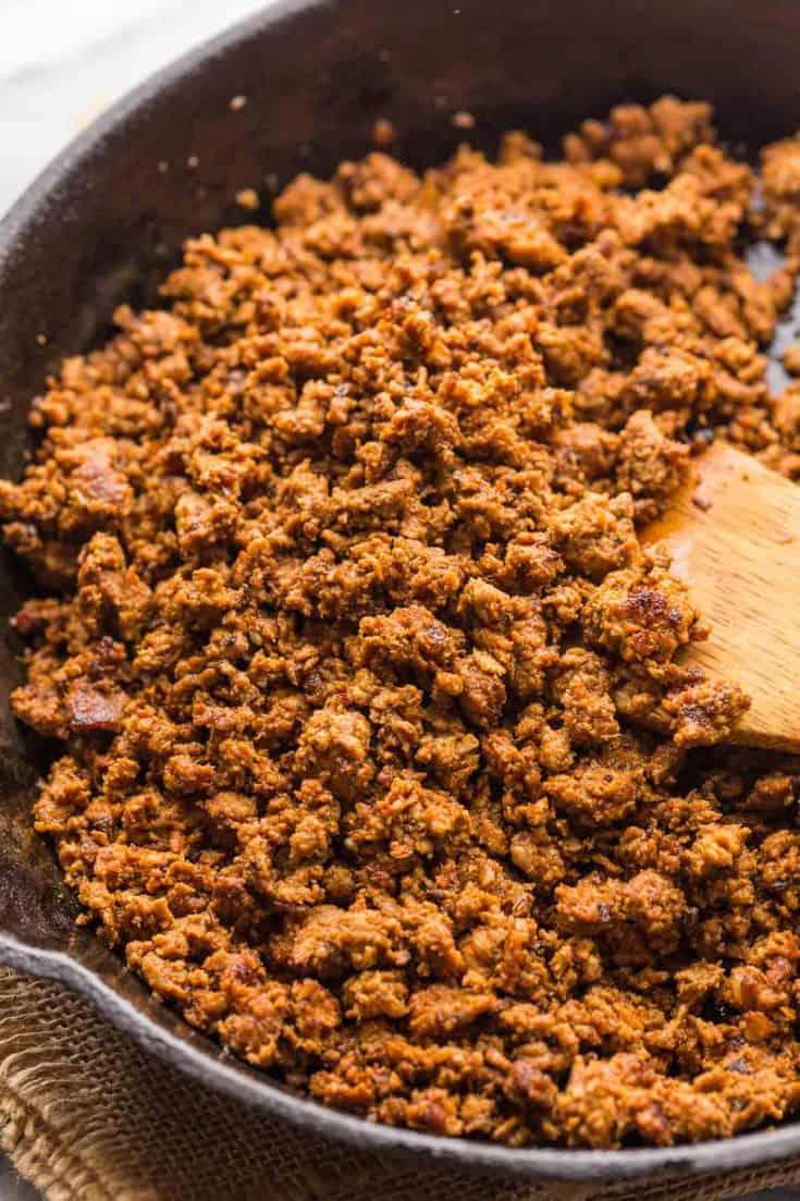 up close turkey chorizo in a skillet