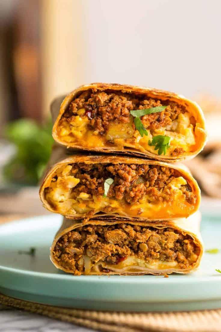 turkey-chorizo-burrito cut in half and stacked