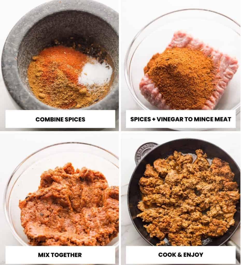 turkey chorizo collage