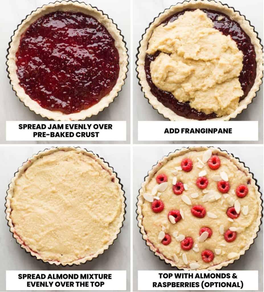 vegan bakewell tart - assembly collage