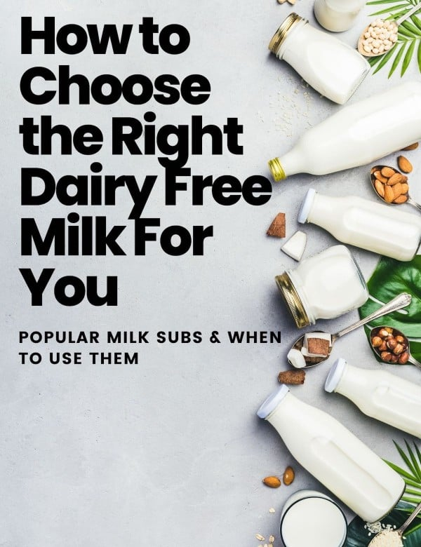 dairy free milk substitute guide graphic for pinterest