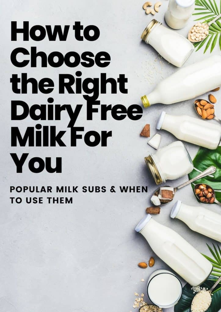 Text: How to Choose the Right  Dairy Free Milk Substitute for You - popular subs and how to use them