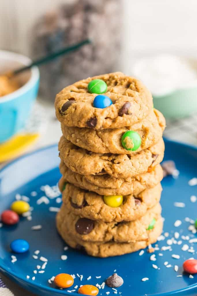 Oat Free Monster Cookies stacked on a plate