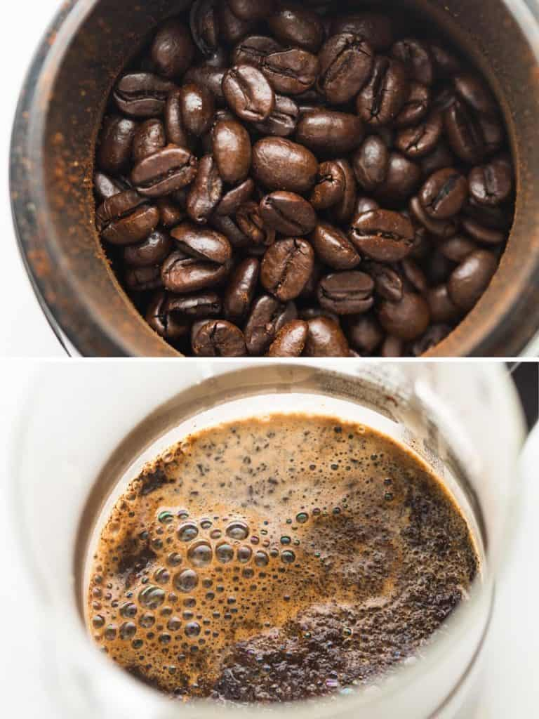 coffee beans and coffee brewing in french press