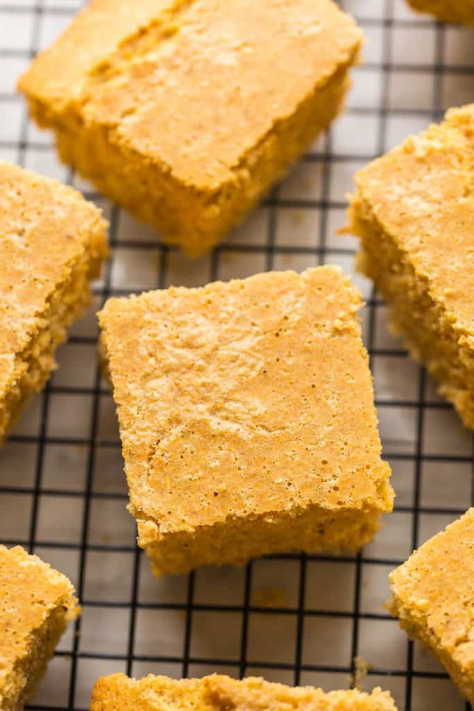 slices of Gluten Free Cornbread cooling on a wire rack