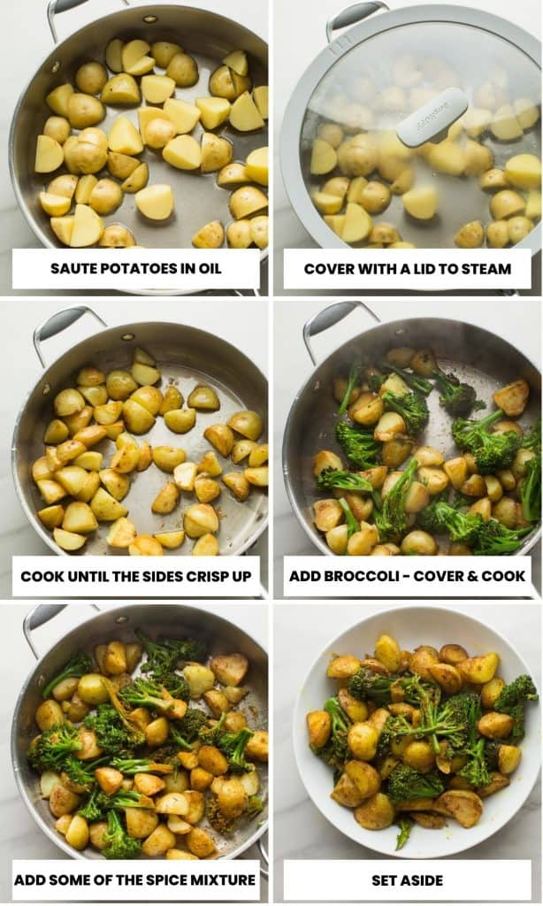 potato curry collage - step-by-step photos on how to fry the broccoli and potatoes