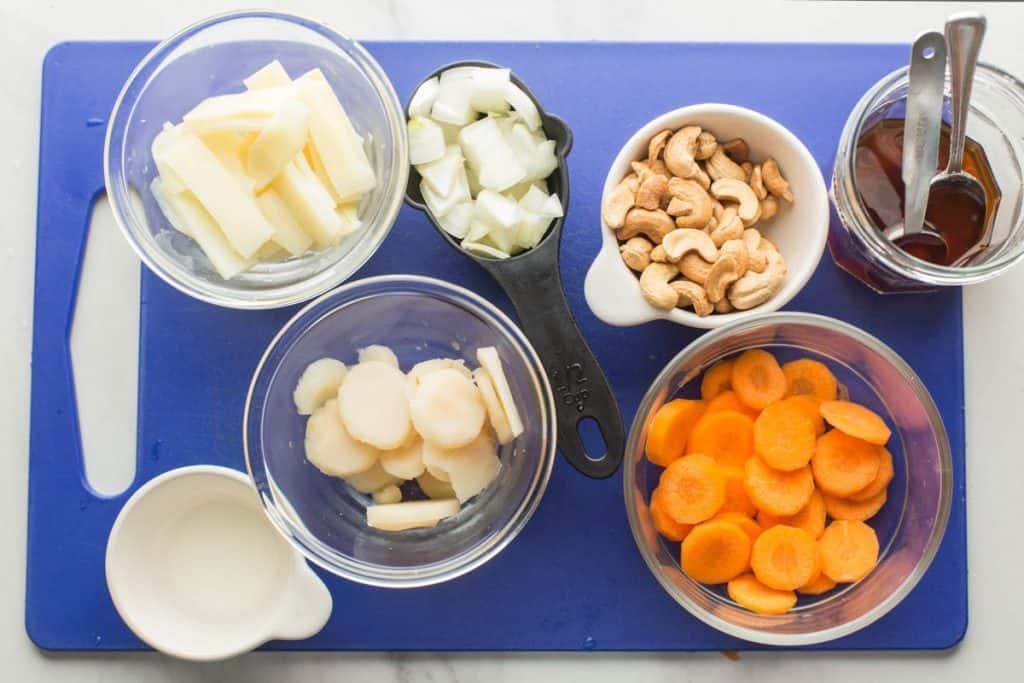 Cashew & King Prawn Stir Fry ingredients prepared on a cutting board