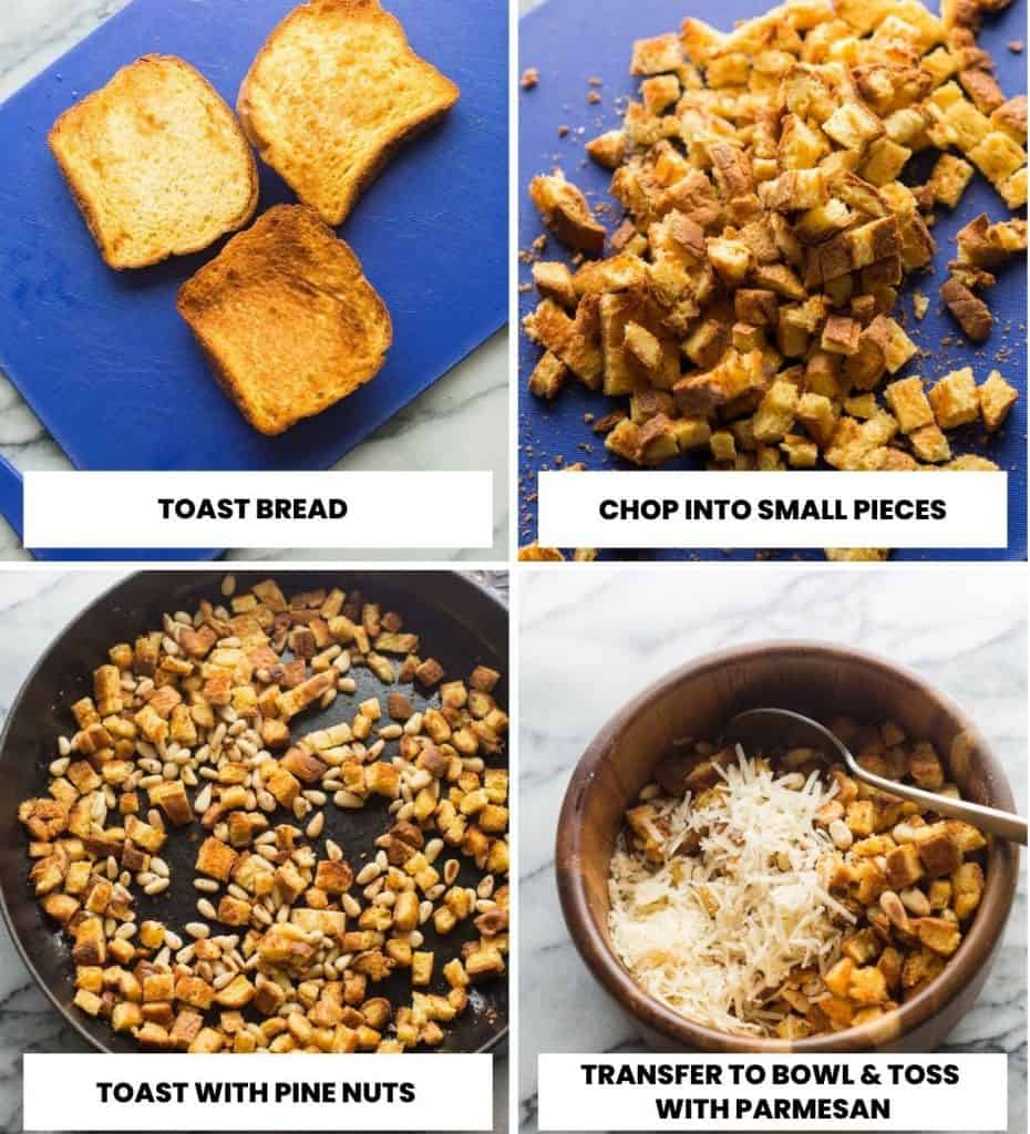 collage for making the toasted bread and pine nut mixture