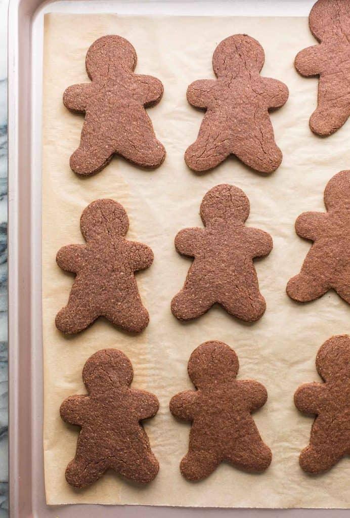 chocolate sugar cookies men on a a baking sheet