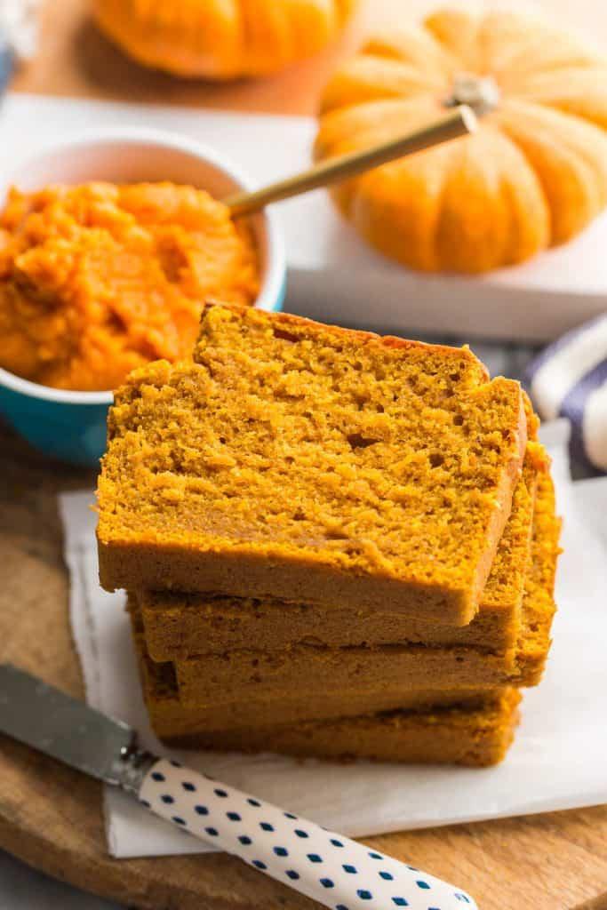 gluten free pumpkin bread slices stacked