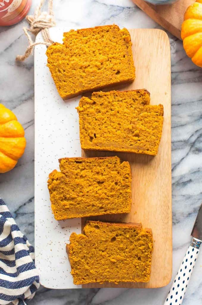 Gluten Free Pumpkin Bread_ on cutting board