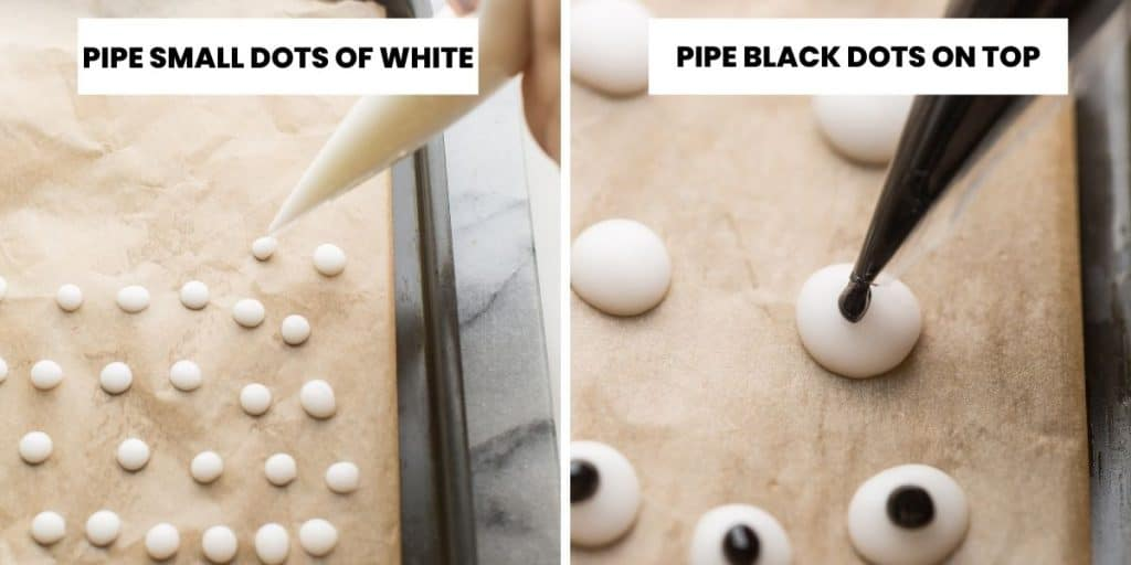 DIY Edible Googly Eyes - piping collage