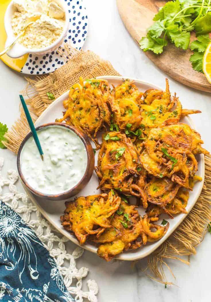 onion bhajis on a plate