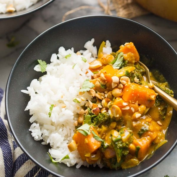 Satay Sweet Potato Curry in a bowl with rice