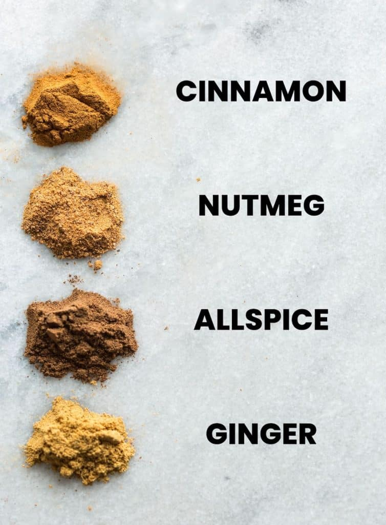 apple pie spice blend spices in a row