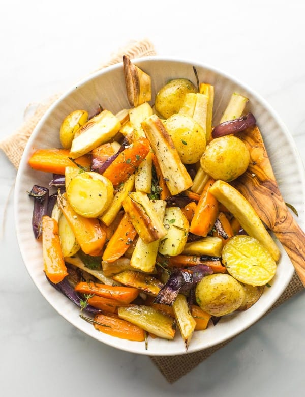 Roasted Root Vegetables in a serving bowl
