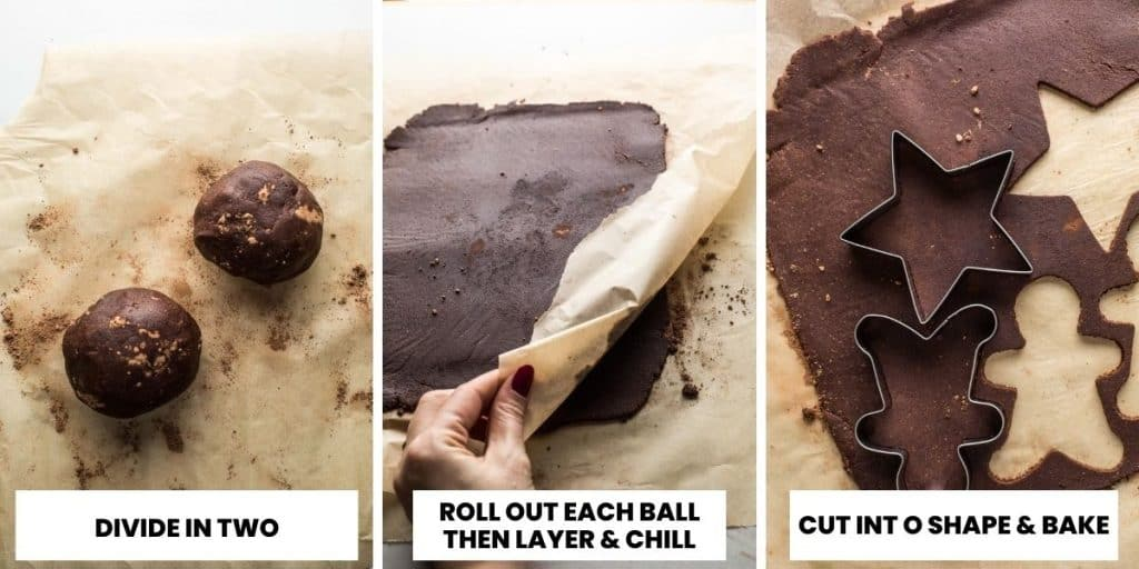 chocolate sugar cookies rolling dough collage