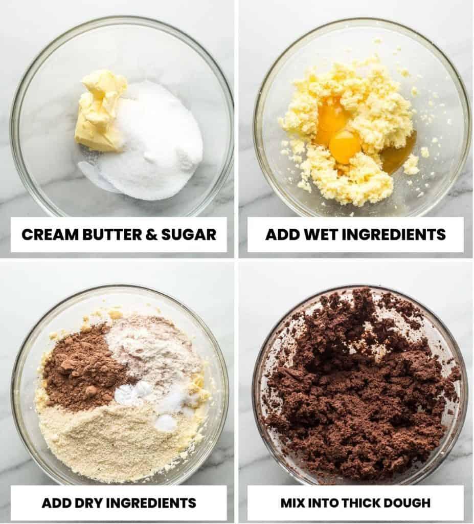 chocolate sugar cookies dough prep collage