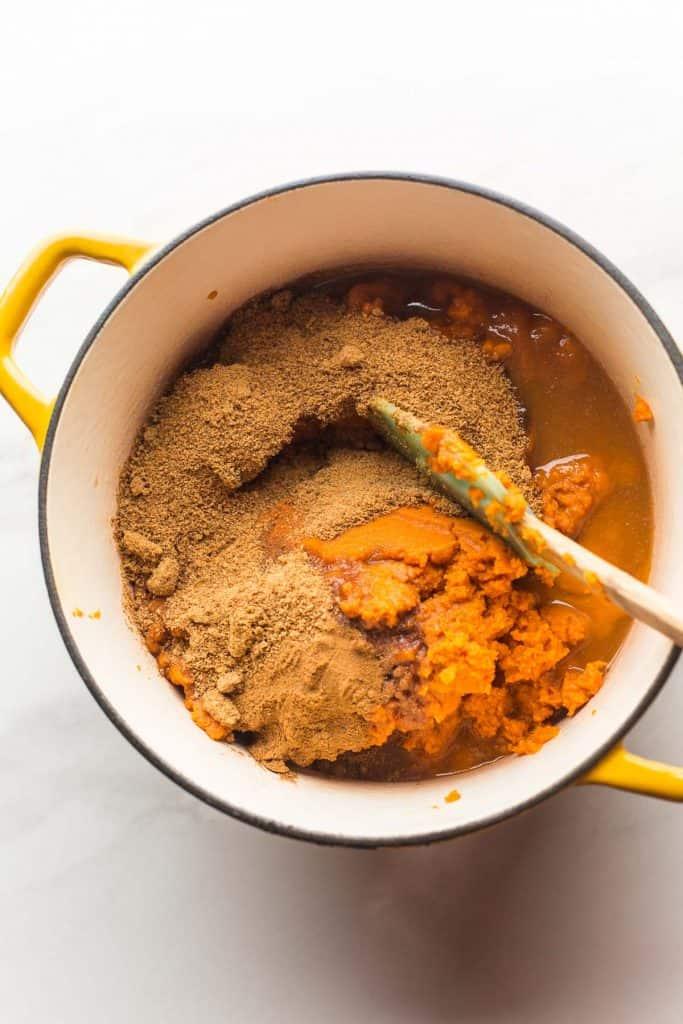 Homemade Pumpkin Butter Recipe ingredients in a big pot