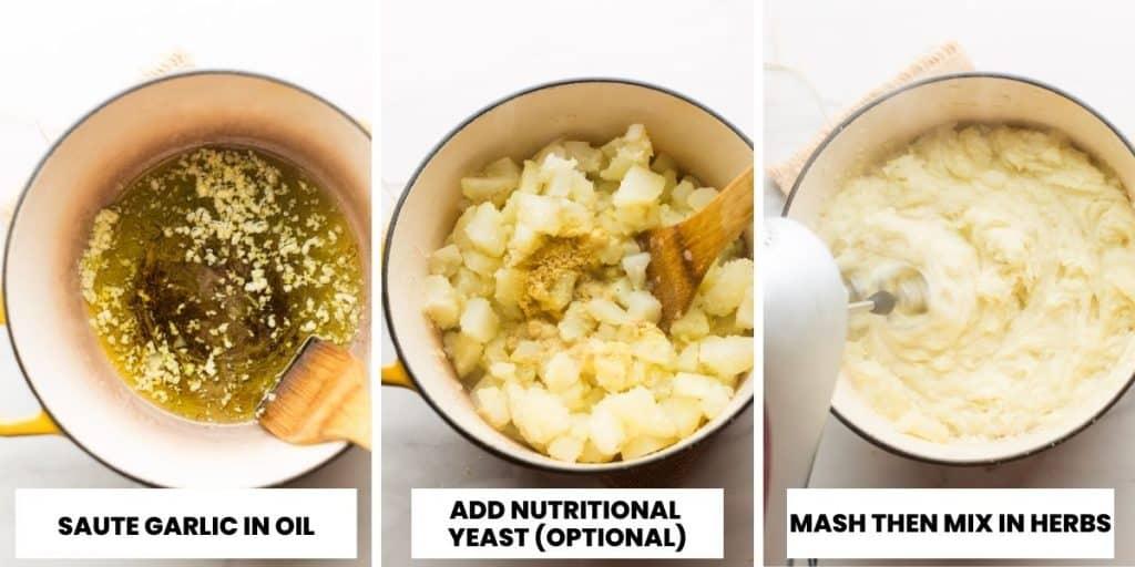 vegan mashed potatoes collage