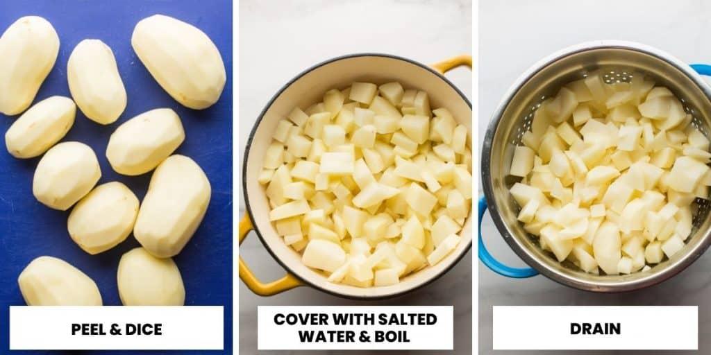 vegan mashed potatoes prep collage